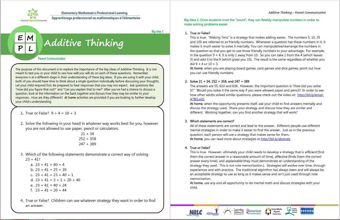 Additive Thinking Big Idea 1