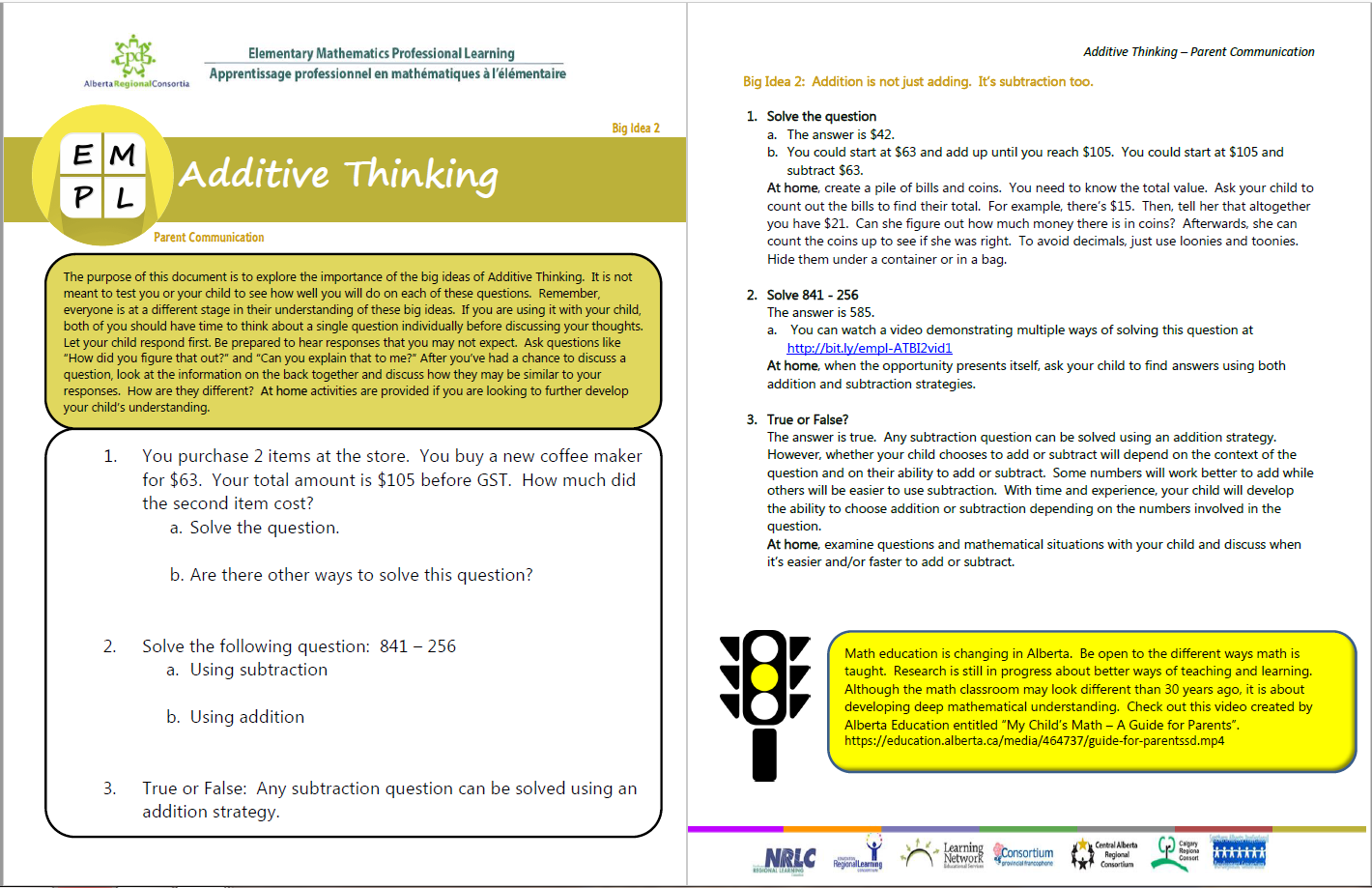 Additive Thinking Big Idea 2