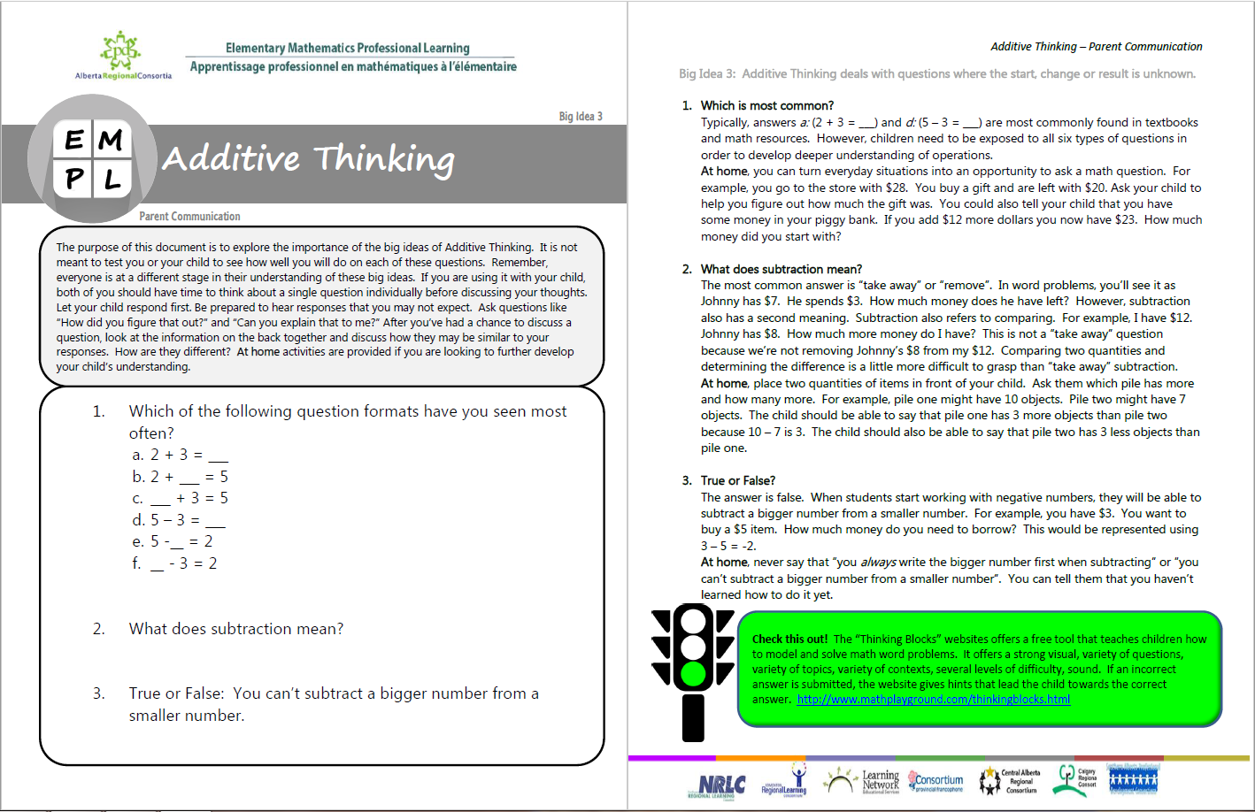 Additive Thinking Big Idea 3