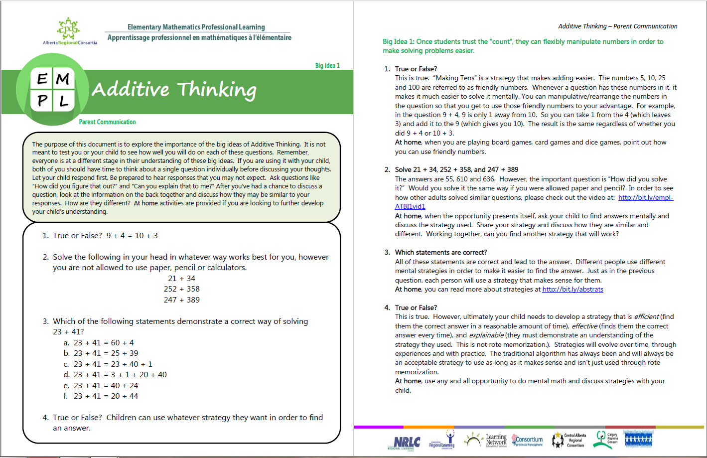 Additive Thinking Big Idea 1